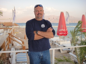 Jeff Lofflin in Eilat relaxing after a dive