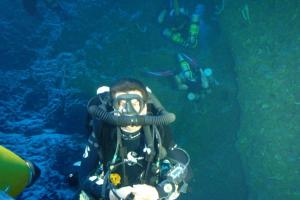 Photo taken from inside Yellow Sub on 80mt_270ft Roatan dive