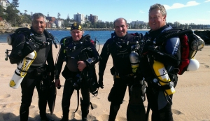 All geared up Hollis Expl Rebreather: L to R:  Nic Rewitt, Peter Letts, Richards Nicholls and Peter Cross.