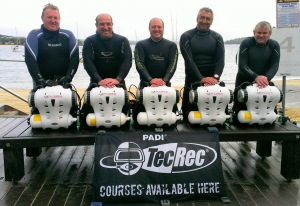 Hollis Explorer Rebreather: L to R:  Peter Cross, Richard Nicholls, Rubens Monaco, Nic Rewitt and Peter Letts proudly display the new Hollis Explorer Sports Rebreather units.