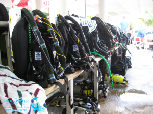 Juergensen Marine Hammerhead rebreathers prepped, ready to dive at Divetech's Inner Space