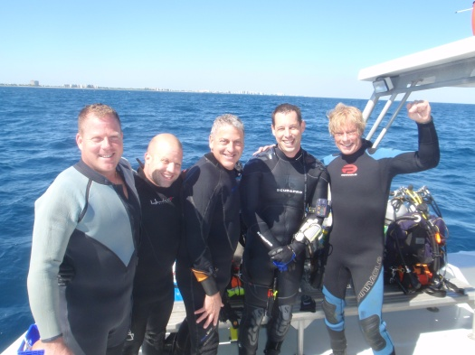 "from left to right;  Tec Trimix divers Joe Moran, Phil Shappy, Mike Rogan, Tec Trimix Instructor Rich DeMarco and Tec Trimix Instructor Trainer Bob Wilson of ""Ocean Services Dive and Marine Consulting."""