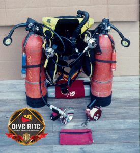 A Floridian sidemount rig from the early 1990's, before Dive Rite released their TransPac system Image Credit: Bob Janowski