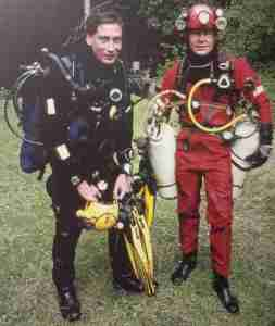 Two Brit Cave Divers marking the CDG's 50th Anniversary by diving Wookey Hole, June 1996 Photo Credit: Gavin Newman