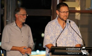 Dr 'Harry' Harris introducing cave diver John Dalla-Zuanna at the 2015 OZTek Award Dinner Photo Credit: Rosemary E Lunn / The Underwater Marketing Company