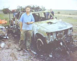 Dr 'Harry' Harris and his Mk15.5 rebreather, now is a blackened blob inside the burnt out shell of his Nissan Patrol. Harry was his way home from a two week cave diving trip to Australia's famous Cocklebiddy Cave in summer 2008 when he spotted smoke in the rear view mirror. 10 minutes after pulling over, everything was destroyed by fire.